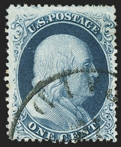 Sale Number 1166, Lot Number 623, 1857-60 Issue (Scott 18-39)1c Blue, Ty. Ia (19), 1c Blue, Ty. Ia (19)
