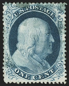 Sale Number 1166, Lot Number 627, 1857-60 Issue (Scott 18-39)1c Blue, Ty. III (21), 1c Blue, Ty. III (21)