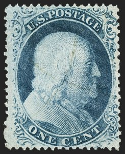 Sale Number 1166, Lot Number 628, 1857-60 Issue (Scott 18-39)1c Blue, Ty. III (21), 1c Blue, Ty. III (21)