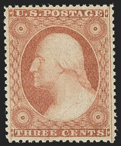 Sale Number 1166, Lot Number 633, 1857-60 Issue (Scott 18-39)3c Dull Red, Ty. III (26). Mint N.H, 3c Dull Red, Ty. III (26). Mint N.H