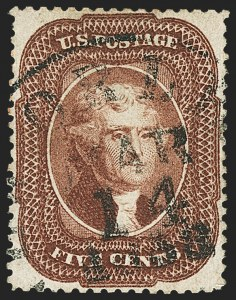 Sale Number 1166, Lot Number 640, 1857-60 Issue (Scott 18-39)5c Red Brown (28), 5c Red Brown (28)