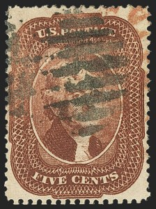 Sale Number 1166, Lot Number 641, 1857-60 Issue (Scott 18-39)5c Bright Red Brown (28b), 5c Bright Red Brown (28b)