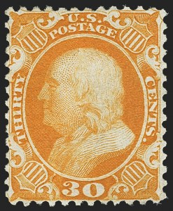 Sale Number 1166, Lot Number 662, 1875 Reprint of 1857-60 Issue (Scott 40-47)30c Yellow Orange, Reprint (46), 30c Yellow Orange, Reprint (46)