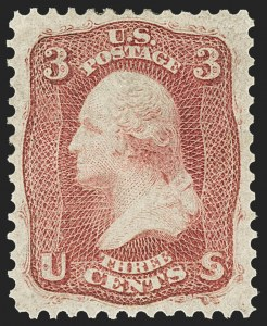 Sale Number 1166, Lot Number 665, 1861-66 Issue (Scott 56-78)3c Brown Rose, First Design (56), 3c Brown Rose, First Design (56)