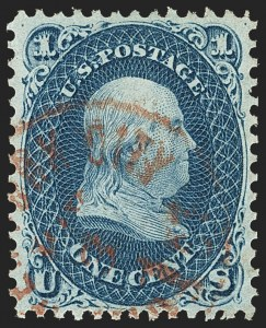 Sale Number 1166, Lot Number 671, 1861-66 Issue (Scott 56-78)1c Dark Blue (63b), 1c Dark Blue (63b)