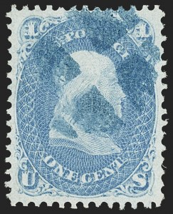 Sale Number 1166, Lot Number 705, 1867-68 Grilled Issue (Scott 79-101)1c Blue, F. Grill, Very Thin Paper (92 var), 1c Blue, F. Grill, Very Thin Paper (92 var)