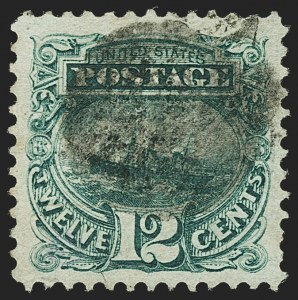 Sale Number 1166, Lot Number 745, 1869 Pictorial Issue (Scott 112-122)12c Green, Double Grill (117 var), 12c Green, Double Grill (117 var)