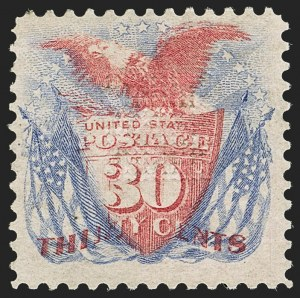 Sale Number 1166, Lot Number 754, 1869 Pictorial Issue (Scott 112-122)30c Ultramarine & Carmine (121), 30c Ultramarine & Carmine (121)
