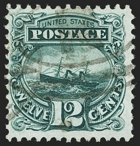 Sale Number 1166, Lot Number 767, 1875 Re-Issue of 1869 Pictorial Issue (Scott 123-133a)12c Green, Re-Issue (128), 12c Green, Re-Issue (128)