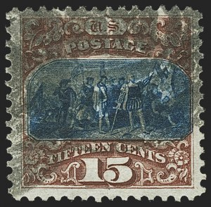 Sale Number 1166, Lot Number 769, 1875 Re-Issue of 1869 Pictorial Issue (Scott 123-133a)15c Brown & Blue, Re-Issue (129), 15c Brown & Blue, Re-Issue (129)