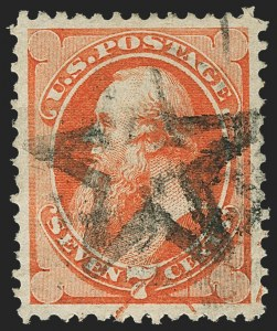 Sale Number 1166, Lot Number 787, 1870-73 National and Continental Bank Note Co. Issues (Scott 134-166)7c Orange Vermilion (160), 7c Orange Vermilion (160)