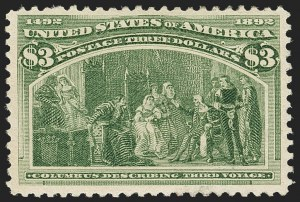 Sale Number 1166, Lot Number 847, 1893 Columbian Issue (Scott 230-245)$3.00 Columbian (243), $3.00 Columbian (243)
