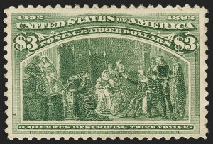Sale Number 1166, Lot Number 848, 1893 Columbian Issue (Scott 230-245)$3.00 Columbian (243), $3.00 Columbian (243)