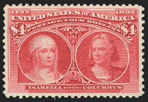 Sale Number 1166, Lot Number 849, 1893 Columbian Issue (Scott 230-245)$4.00 Columbian (244), $4.00 Columbian (244)