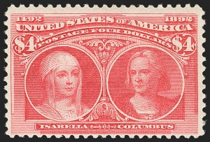 Sale Number 1166, Lot Number 850, 1893 Columbian Issue (Scott 230-245)$4.00 Columbian (244), $4.00 Columbian (244)