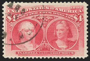 Sale Number 1166, Lot Number 851, 1893 Columbian Issue (Scott 230-245)$4.00 Columbian (244), $4.00 Columbian (244)