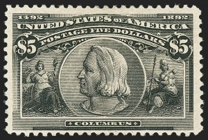 Sale Number 1166, Lot Number 853, 1893 Columbian Issue (Scott 230-245)$5.00 Columbian (245), $5.00 Columbian (245)