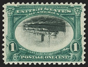 Sale Number 1166, Lot Number 901, 1901 Pan-American Issue (Scott 294-299)1c Pan-American, Center Inverted (294a), 1c Pan-American, Center Inverted (294a)