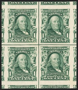 Sale Number 1166, Lot Number 920, 1902-08 Issues (Scott 300-320)1c Blue Green, Imperforate (314), 1c Blue Green, Imperforate (314)