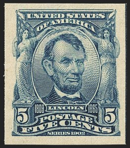 Sale Number 1166, Lot Number 923, 1902-08 Issues (Scott 300-320)5c Blue, Imperforate (315), 5c Blue, Imperforate (315)