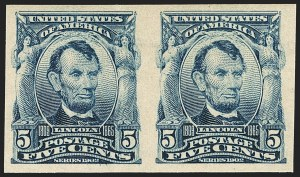 Sale Number 1166, Lot Number 924, 1902-08 Issues (Scott 300-320)5c Blue, Imperforate (315), 5c Blue, Imperforate (315)