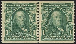 Sale Number 1166, Lot Number 930, 1902-08 Issues (Scott 300-320)1c Blue Green, Coil (318), 1c Blue Green, Coil (318)