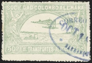 Sale Number 1168, Lot Number 3072, 1920 SCADTA First Issue (C14, C16)COLOMBIA, 1920, 50c Pale Green, Air Post (C16), COLOMBIA, 1920, 50c Pale Green, Air Post (C16)