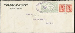 Sale Number 1168, Lot Number 3074, 1920 SCADTA First Issue (C14, C16)COLOMBIA, 1920, 50c Pale Green, Air Post - First Flight from Barranquilla to Girardot (C16), COLOMBIA, 1920, 50c Pale Green, Air Post - First Flight from Barranquilla to Girardot (C16)
