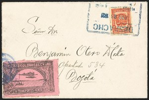 Sale Number 1168, Lot Number 3075, 1920 SCADTA First Issue (C14, C16)COLOMBIA, 1920, 30c Black on Rose, Air Post - Apr. 28, 1921 Experimental Flight (C14), COLOMBIA, 1920, 30c Black on Rose, Air Post - Apr. 28, 1921 Experimental Flight (C14)