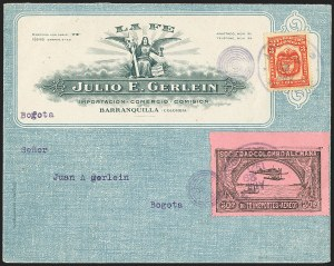 Sale Number 1168, Lot Number 3076, 1920 SCADTA First Issue (C14, C16)COLOMBIA, 1920, 30c Black on Rose, Air Post - Apr. 29, 1921 Experimental Flight (C14), COLOMBIA, 1920, 30c Black on Rose, Air Post - Apr. 29, 1921 Experimental Flight (C14)