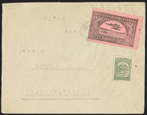 Sale Number 1168, Lot Number 3078, 1920 SCADTA First Issue (C14, C16)COLOMBIA, 1920, 30c Black on Rose, Air Post - Aug. 17, 1921 Experimental Flight (C14), COLOMBIA, 1920, 30c Black on Rose, Air Post - Aug. 17, 1921 Experimental Flight (C14)