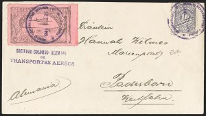 Sale Number 1168, Lot Number 3079, 1920 SCADTA First Issue (C14, C16)COLOMBIA, 1920, 30c Black on Rose, Air Post - Sept. 1, 1921 Experimental Flight (C14), COLOMBIA, 1920, 30c Black on Rose, Air Post - Sept. 1, 1921 Experimental Flight (C14)