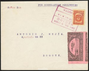 Sale Number 1168, Lot Number 3081, 1920 SCADTA First Issue (C14, C16)COLOMBIA, 1920, 30c Black on Rose, Air Post - Nov. 18, 1921 Experimental Flight (C14), COLOMBIA, 1920, 30c Black on Rose, Air Post - Nov. 18, 1921 Experimental Flight (C14)