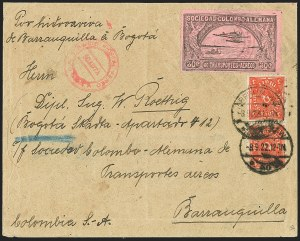 Sale Number 1168, Lot Number 3082, 1920 SCADTA First Issue (C14, C16)COLOMBIA, 1920, 30c Black on Rose, Air Post - Oct. 1922 Scheduled Flight (C14), COLOMBIA, 1920, 30c Black on Rose, Air Post - Oct. 1922 Scheduled Flight (C14)