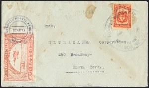 Sale Number 1168, Lot Number 3084, 1921 SCADTA Second Issue thru Consular Forerunners (C13, C15, CLEU1-CLEU2)COLOMBIA, 1921, 30c Rose, Air Post - Dec. 15, 1921 Scheduled Flight (C14), COLOMBIA, 1921, 30c Rose, Air Post - Dec. 15, 1921 Scheduled Flight (C14)