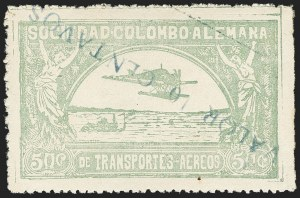"Sale Number 1168, Lot Number 3095, 1921-23 Provisional Surcharges (C17-C24B, C36-C37)COLOMBIA, 1921, ""Valor 10 Centavos"" on 50c Pale Green, Inverted Surcharge with Inverted ""1"" of ""10"" (Colomphil 2a; Scott C18 var), COLOMBIA, 1921, ""Valor 10 Centavos"" on 50c Pale Green, Inverted Surcharge with Inverted ""1"" of ""10"" (Colomphil 2a; Scott C18 var)"