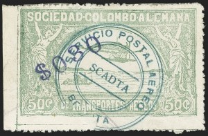 "Sale Number 1168, Lot Number 3112, 1921-23 Provisional Surcharges (C17-C24B, C36-C37)COLOMBIA, 1921, ""$030"" on 50c Pale Green, Air Post Surcharge (Colomphil 9; Scott C23), COLOMBIA, 1921, ""$030"" on 50c Pale Green, Air Post Surcharge (Colomphil 9; Scott C23)"