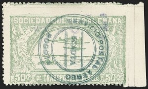 "Sale Number 1168, Lot Number 3113, 1921-23 Provisional Surcharges (C17-C24B, C36-C37)COLOMBIA, 1921, ""$030"" on 50c Pale Green, Air Post Surcharge (Colomphil 9; Scott C23), COLOMBIA, 1921, ""$030"" on 50c Pale Green, Air Post Surcharge (Colomphil 9; Scott C23)"