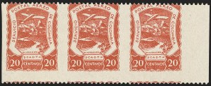 Sale Number 1168, Lot Number 3131, Later SCADTA IssuesCOLOMBIA, 1921, 20c Red Brown, Horizontal Pair, Imperforate Between (C28a), COLOMBIA, 1921, 20c Red Brown, Horizontal Pair, Imperforate Between (C28a)