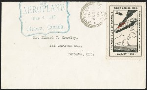 Sale Number 1169, Lot Number 3501, Aero Club of Canada (CLP1-CLP2)CANADA, 1918, (25c) Black & Red, Aero Club of Canada, Air Post Semi-Official (CLP1), CANADA, 1918, (25c) Black & Red, Aero Club of Canada, Air Post Semi-Official (CLP1)