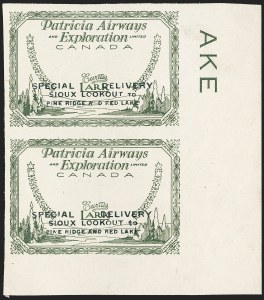 "Sale Number 1169, Lot Number 3535, Patricia Airways and Exploration (CL13-CL30)CANADA, 1926, (25c) Patricia Airways Air Post Semi-Official, Proof of Green Frame and Route Inscription, Small ""t"" (Unitrade CL13Pv), CANADA, 1926, (25c) Patricia Airways Air Post Semi-Official, Proof of Green Frame and Route Inscription, Small ""t"" (Unitrade CL13Pv)"