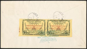 Sale Number 1169, Lot Number 3537, Patricia Airways and Exploration (CL13-CL30)CANADA, 1926, (25c) Green & Red on Yellow, Patricia Airways Air Post Semi-Official, Horizontal Pair, Imperforate Vertically (CL13b; Unitrade CL13a), CANADA, 1926, (25c) Green & Red on Yellow, Patricia Airways Air Post Semi-Official, Horizontal Pair, Imperforate Vertically (CL13b; Unitrade CL13a)