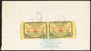 Sale Number 1169, Lot Number 3538, Patricia Airways and Exploration (CL13-CL30)CANADA, 1926, (25c) Green & Red on Yellow, Patricia Airways Air Post Semi-Official, Horizontal Pair, Imperforate Vertically (CL13b; Unitrade CL13a), CANADA, 1926, (25c) Green & Red on Yellow, Patricia Airways Air Post Semi-Official, Horizontal Pair, Imperforate Vertically (CL13b; Unitrade CL13a)