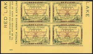 "Sale Number 1169, Lot Number 3539, Patricia Airways and Exploration (CL13-CL30)CANADA, 1926, (25c) Green & Red on Yellow, Patricia Airways Air Post Semi-Official, Horizontal Pair, Imperforate Vertically and ""Red Lake"" Double, One Inverted (Unitrade CL13ai), CANADA, 1926, (25c) Green & Red on Yellow, Patricia Airways Air Post Semi-Official, Horizontal Pair, Imperforate Vertically and ""Red Lake"" Double, One Inverted (Unitrade CL13ai)"