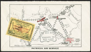"Sale Number 1169, Lot Number 3541, Patricia Airways and Exploration (CL13-CL30)CANADA, 1926, (10c) Green & Red on Yellow, Patricia Airways Air Post Semi-Official, Inscribed ""FED"" in Blue-Black Ink (CL13h var; Unitrade CL13e var), CANADA, 1926, (10c) Green & Red on Yellow, Patricia Airways Air Post Semi-Official, Inscribed ""FED"" in Blue-Black Ink (CL13h var; Unitrade CL13e var)"