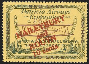 "Sale Number 1169, Lot Number 3547, Patricia Airways and Exploration (CL13-CL30)CANADA, 1927, 10c Green & Red on Yellow, Patricia Airways Air Post Semi-Official, Small ""t"" in ""TO"" (CL14b), CANADA, 1927, 10c Green & Red on Yellow, Patricia Airways Air Post Semi-Official, Small ""t"" in ""TO"" (CL14b)"