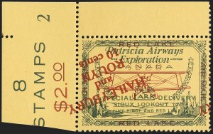 Sale Number 1169, Lot Number 3548, Patricia Airways and Exploration (CL13-CL30)CANADA, 1926, (10c) Green & Red on Yellow, Patricia Airways Air Post Semi-Official, Red Overprint Inverted (CL14c), CANADA, 1926, (10c) Green & Red on Yellow, Patricia Airways Air Post Semi-Official, Red Overprint Inverted (CL14c)