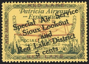 Sale Number 1169, Lot Number 3550, Patricia Airways and Exploration (CL13-CL30)CANADA, 1927, 5c Green & Red on Yellow, Patricia Airways Air Post Semi-Official, Black Overprint (CL15), CANADA, 1927, 5c Green & Red on Yellow, Patricia Airways Air Post Semi-Official, Black Overprint (CL15)