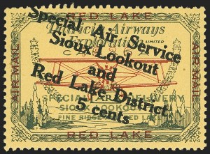 Sale Number 1169, Lot Number 3551, Patricia Airways and Exploration (CL13-CL30)CANADA, 1927, 5c Green & Red on Yellow, Patricia Airways Air Post Semi-Official, Black Overprint Descending (CL15a), CANADA, 1927, 5c Green & Red on Yellow, Patricia Airways Air Post Semi-Official, Black Overprint Descending (CL15a)