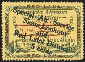 Sale Number 1169, Lot Number 3552, Patricia Airways and Exploration (CL13-CL30)CANADA, 1927, 5c Green & Red on Yellow, Patricia Airways Air Post Semi-Official, Black Overprint Descending (CL15a), CANADA, 1927, 5c Green & Red on Yellow, Patricia Airways Air Post Semi-Official, Black Overprint Descending (CL15a)